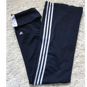 Adidas Women's Black flare leggings with stripes S